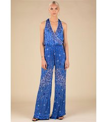 poupette st barth jena jumpsuit blue pineapple