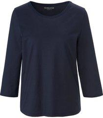 shirt 100% katoen ronde hals en 3/4-mouwen van green cotton blauw