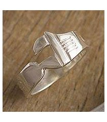 men's sterling silver band ring, 'wrenched' (peru)