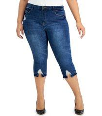 gogo jeans trendy plus size destructed-hem skinny capri jeans