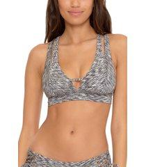 becca sundance split halter bikini top, size large in grey at nordstrom