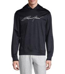 emporio armani men's logo embroidery hoodie - navy - size s