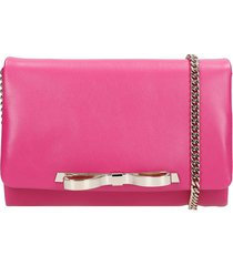 red valentino clutch in fuxia leather