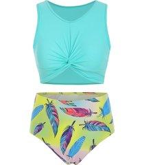 scoop neck feather print twist front tankini swimsuit