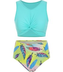 scoop neck feather print twist front tankini swimsuit