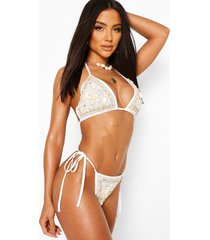 shell embellished bikini set, white