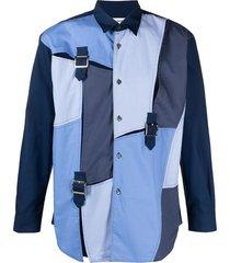 comme des garçons shirt patchwork buckle embellished cotton shirt -