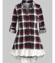 plus size plaid mesh embroidery roll up sleeve tunic blouse