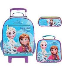 kit mochila com rodinhas frozen com lancheira e estojo feminina