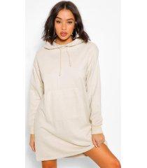 acid wash gebleekte sweatshirt jurk met schouderpads, stone