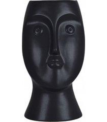 kwietnik porcelanowy osłonka czarna face