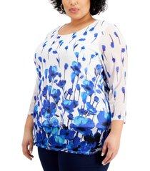 kasper plus size floral-print tunic top