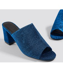 na-kd shoes glitter mule heel sandals - blue