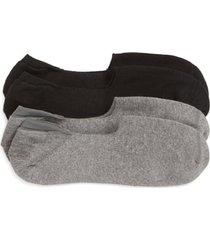 men's nordstrom men's shop 2-pack everyday liner socks, size one size - black
