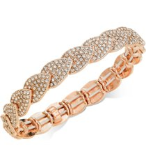 inc rose gold-tone crystal pave stretch bracelet, created for macy's