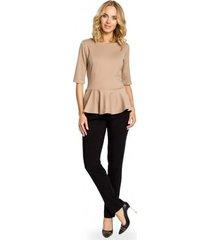 blouse moe m007 elegante effen peplum top - cappuccino