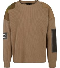 dsquared2 camo patch sweater