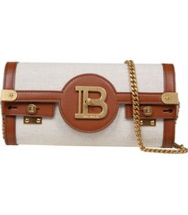 balmain clutch b-buzz 23 in leather and canvas