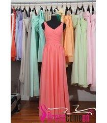 new blush v neck coral bridesmaid dresses,blush gown bridesmaid prom dress bon16