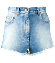 gucci gucci cherry washed denim shorts - blue