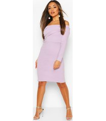 petite off the shoulder midi dress, lilac