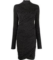 rag & bone ruched polka dot-print mini dress - black