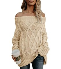 off the shoulder long sleeves oversize sweater