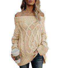 suéter extragrande de manga larga con hombros descubiertos