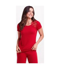 pijama joge pijama longo malha monterey vermelho