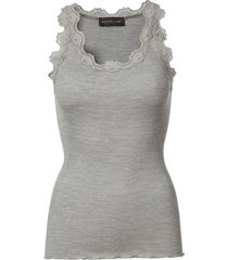 light grey melange rosemunde silk top regular