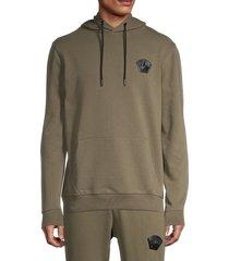 bertigo men's crown logo drawstring cotton-blend hoodie - khaki - size s