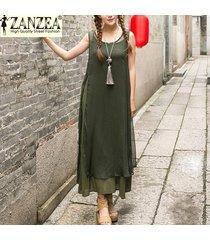 zanzea vestido de verano de moda para mujer vestidos largos largos vestido de seda de rayón suelto informal vestidos sin mangas tallas grandes s-5xl (armygreen) -verde
