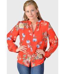 blusa tentation diseño de estampado floral. rojo - calce regular