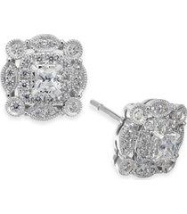 diamond vintage-inspired halo stud earrings (1/2 ct. t.w.) in 14k white gold