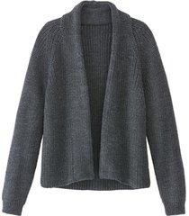 grof gebreid vest van bio-scheerwol zonder sluiting, antraciet 40/42