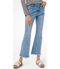 mk jeans sfrangiati a vita alta in denim stretch - lavaggio medio (blu) - michael kors