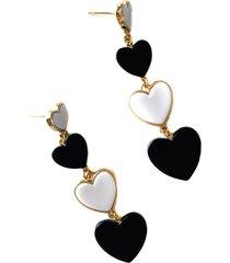aretes de corazones en blanco & negro