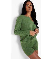 tall trui en shorts set, green