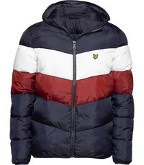 colour block puffa jacket fodrad jacka blå lyle & scott