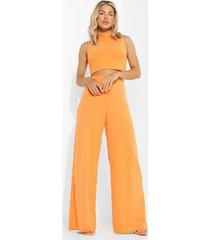 gekreukelde geribbelde crop top en broek met split, orange