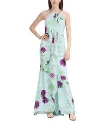 calvin klein floral-print cascade gown