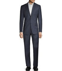 saks fifth avenue men's cloth by ermenegildo zegna slim-fit micro check-print wool suit - blue - size 42 r