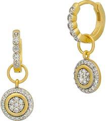 freida rothman brooklyn coast glistening drop huggie hoop earrings in silver/gold at nordstrom