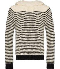 saint laurent horizontal-stripe knitted hoodie - white