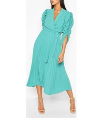 puff sleeve pleated skirt midi dress, mint