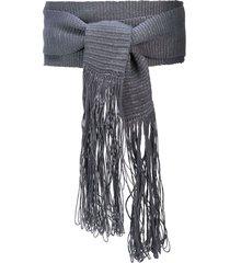 voz fringed wrap-style belt - grey