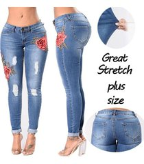 women fashion plus size rose embroidered ripped jeans women sexy casual skinny j