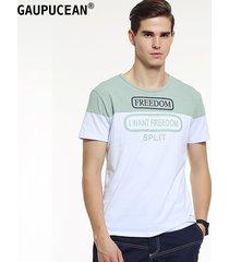 camiseta manga corta cuello redondo casual gaupucean para hombre-verde