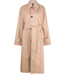 ami paris single-breasted belted trench coat - neutrals