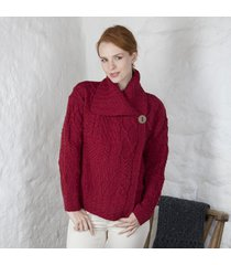 ladies one button aran cardigan red small